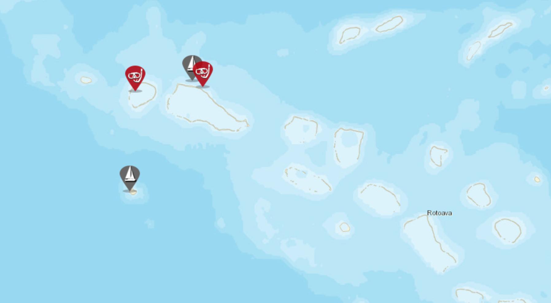 sailing tuamotu map with pins