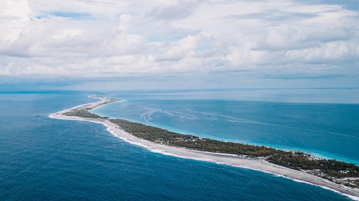 drone view of rangiroa atoll in tuamotu