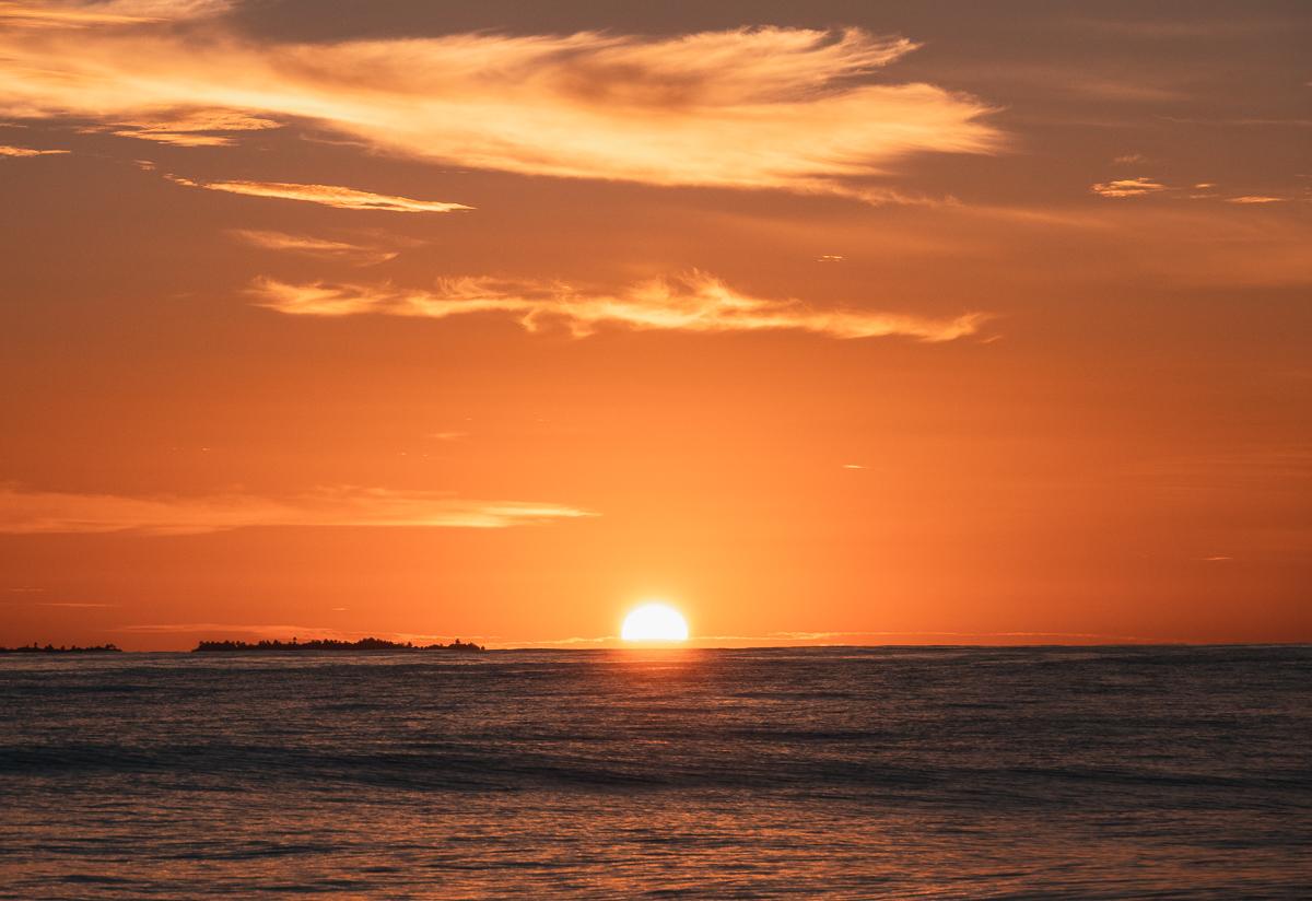 sunrise at sea in the tuamotu french polynesia