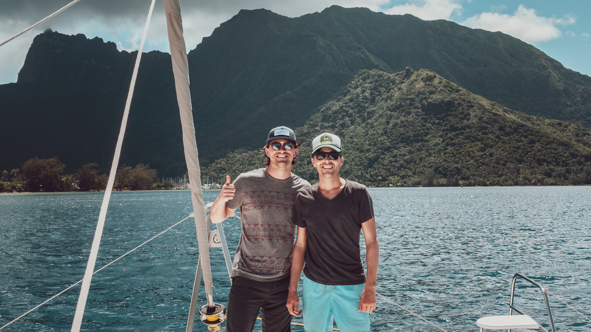 jason and jacob aboard s/v curiosity in moorea french polynesia