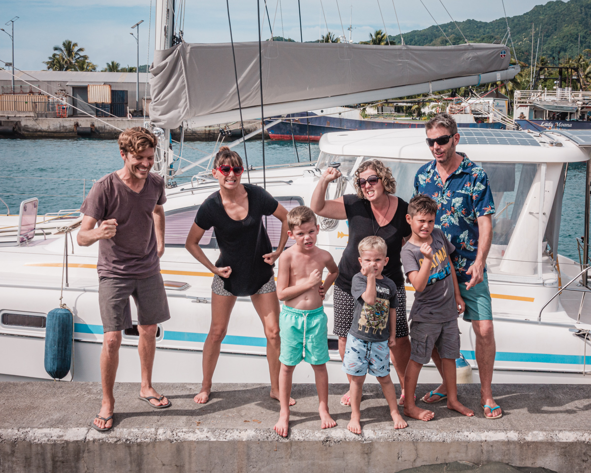 family and friends at the harbor in rarotonga