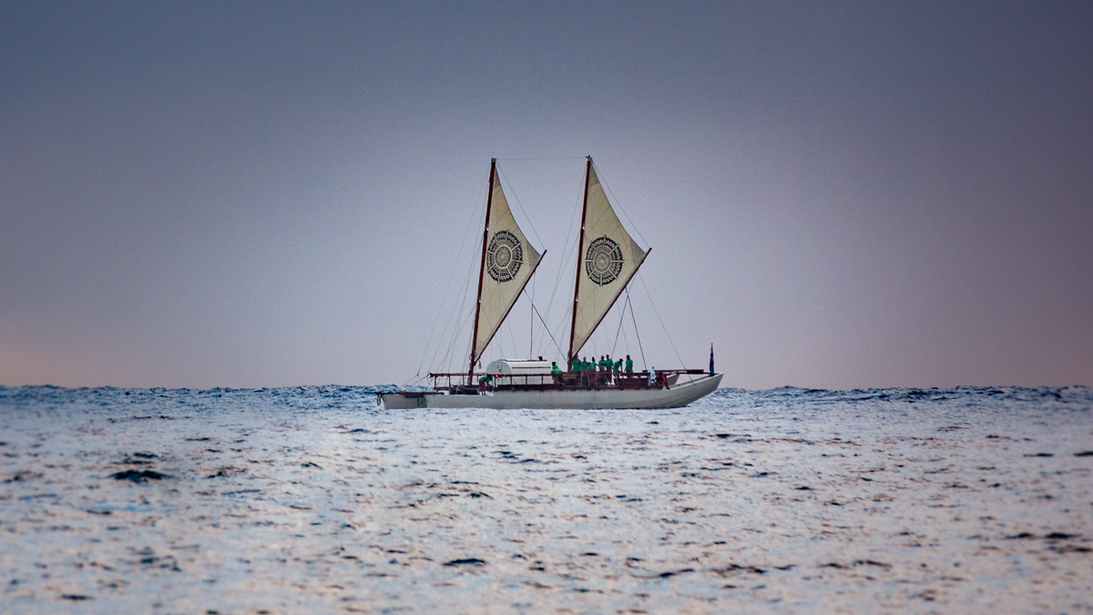 traditional polynesian vaka sailing in south pacific