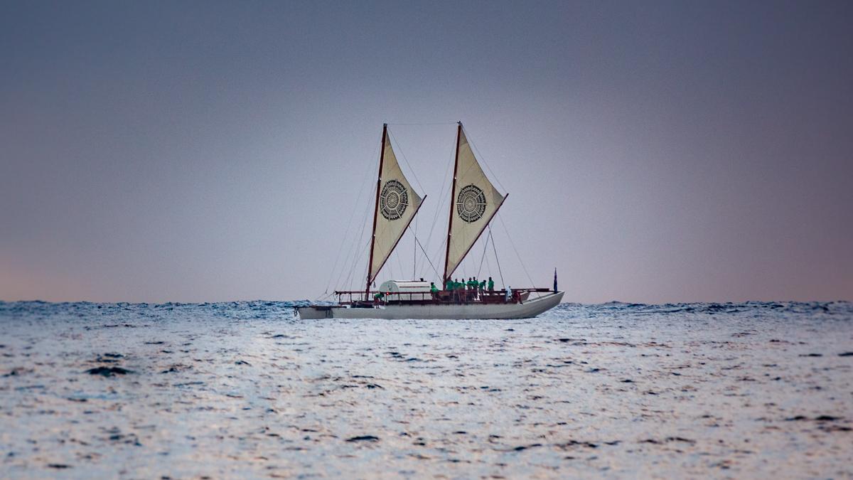 traditional polynesian vaka sailing in south pacific