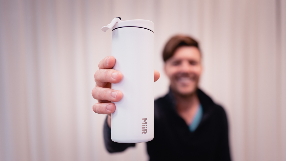 Jason wynn happy about his reusable insulated drinking vessel