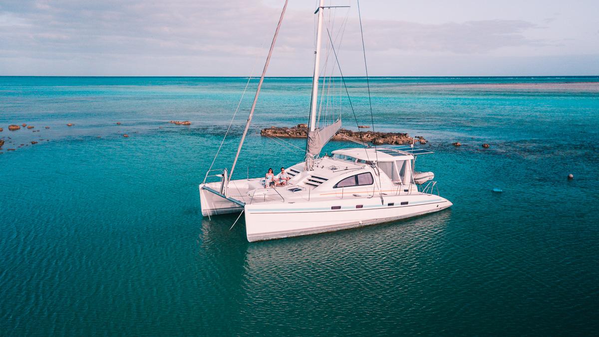 jason and nikki wynn aboard sailing vessel curiosity enjoying the calm anchorage and sunrise