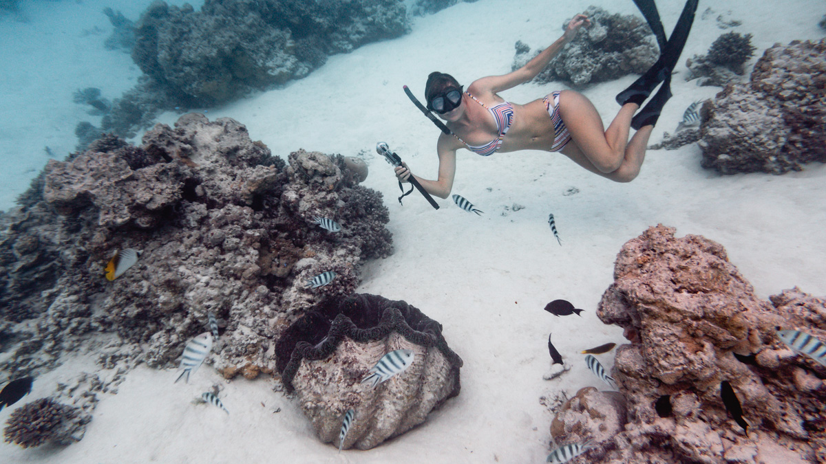 nikki wynn swimming with giant clams aitutaki south pacific