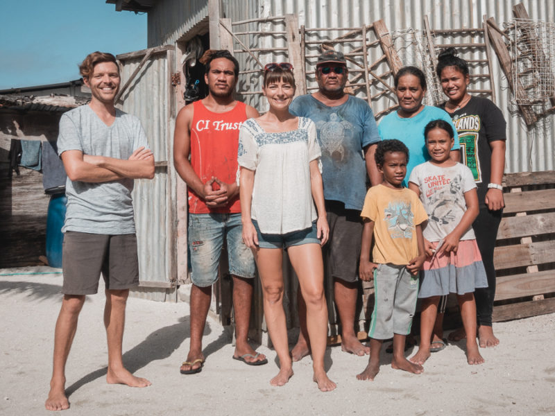 jason and nikki wynn with their host family in palmerston cook islands