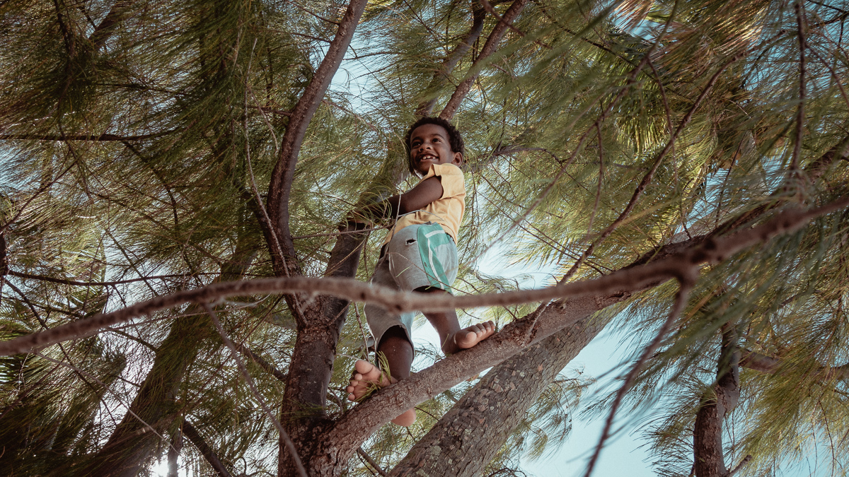 Henry, local native boy climbing tree on remote palmerston island, cook islands