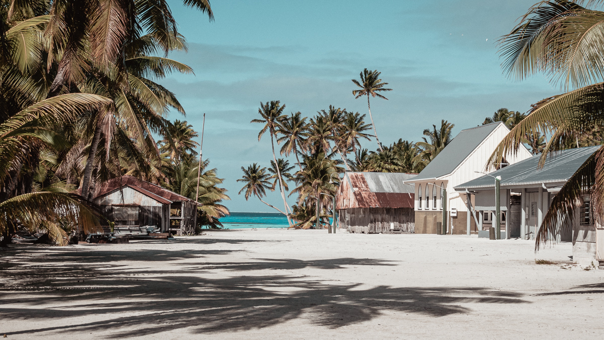 main street on remote island, palmerston island, cook islands