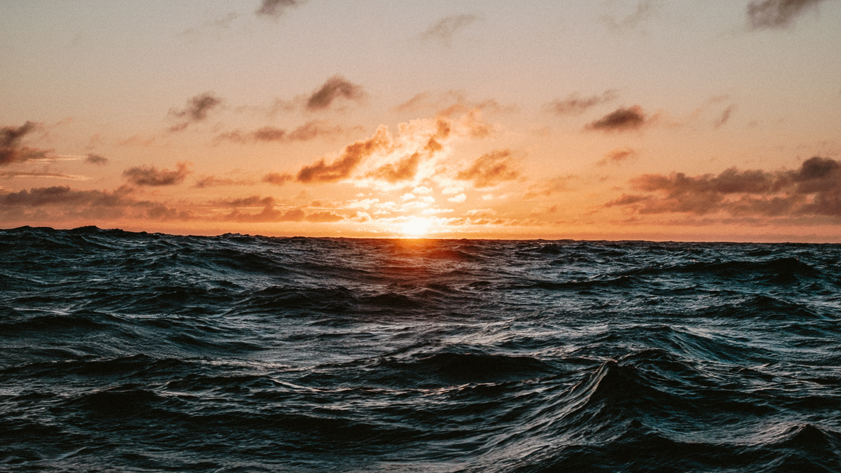 sunset on the south pacific sea