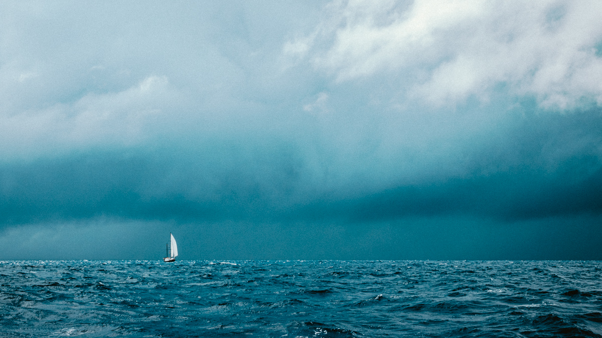sailing the south pacific with stormy seas