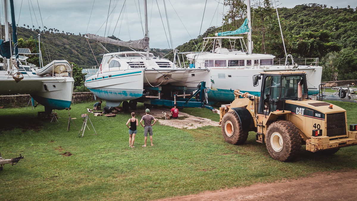 jason and nikki wynn hauling out their sailboat in tonga