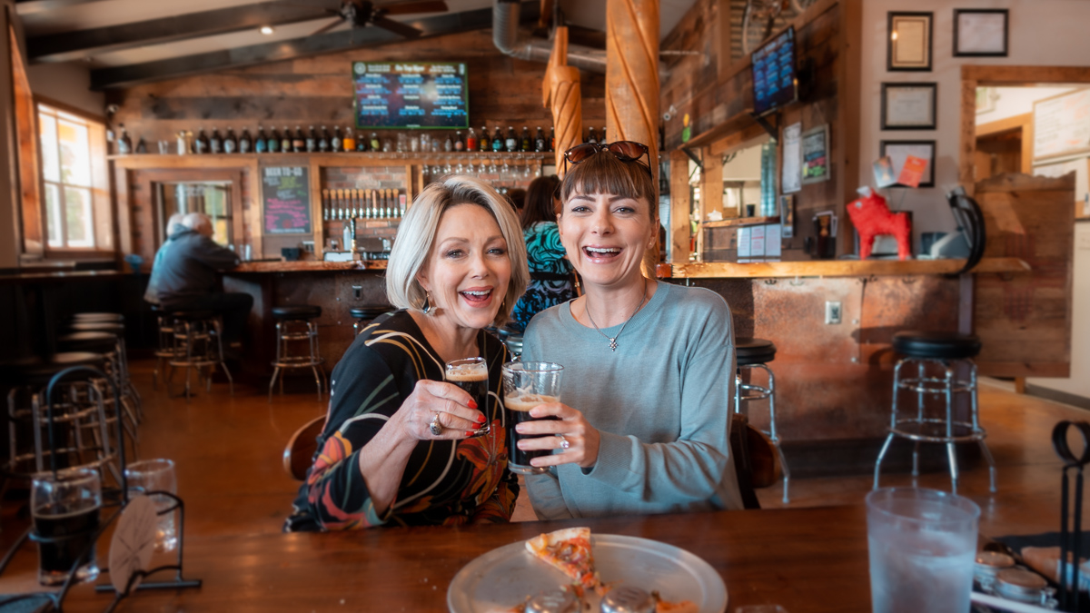 nikki wynn and aunt in new mexico drinking milk stout beer
