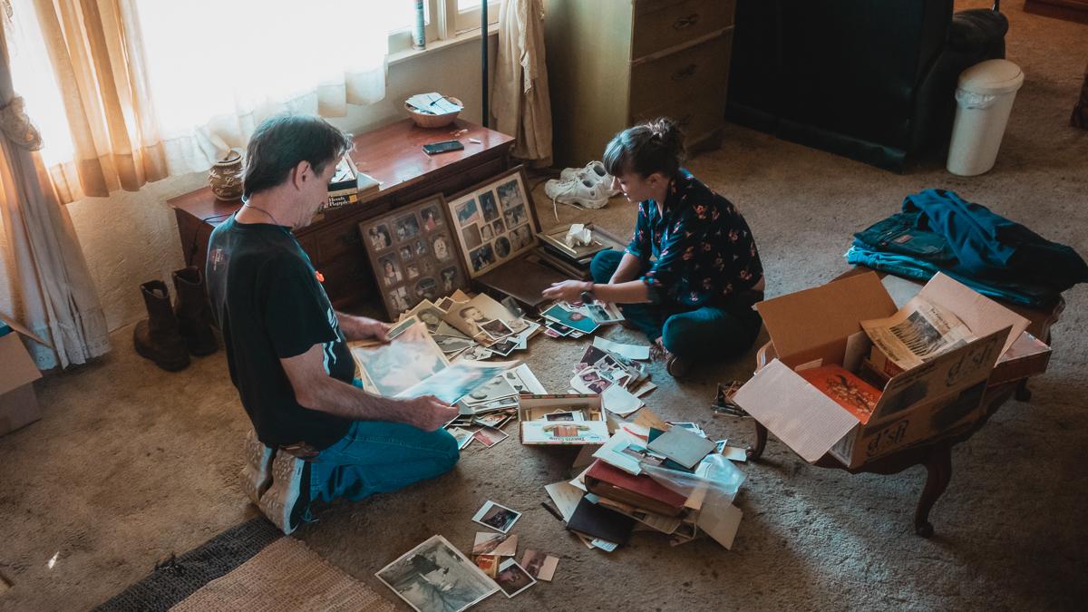 nikki wynn in childhood home going through old photos