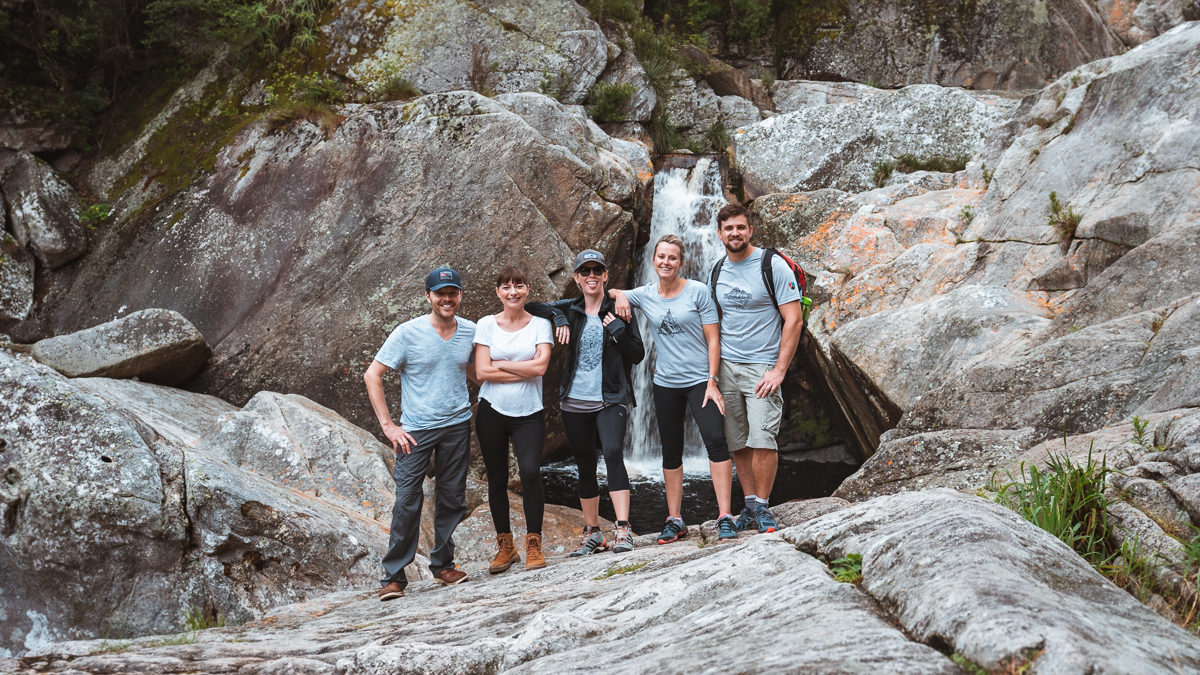 Jason and Nikki wynn with Kate Brand andfriends hiking at wilderness ebb and flow waterfall