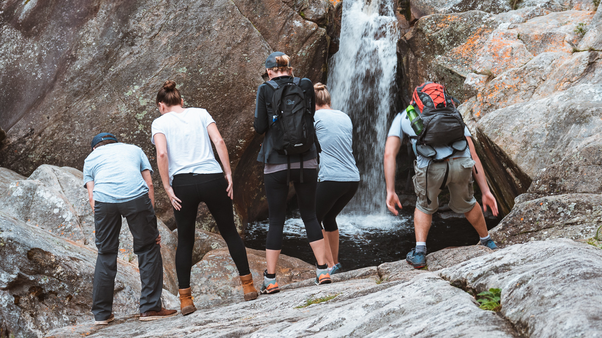 the wynns with friends hiking at wilderness ebb and flow waterfall