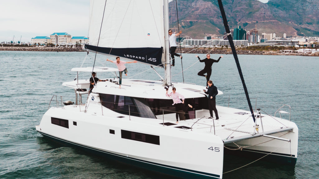 leopard 45 test sail with jason and nikki of gone with the wynns in cape town south africa
