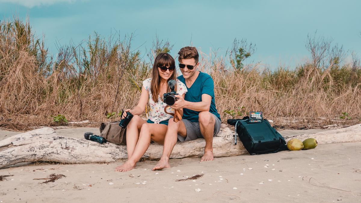 nikki and jason wynn with travel camera setup
