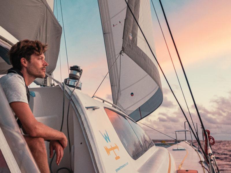 jason wynn aboard Curiosity reflecting on sailing around the world