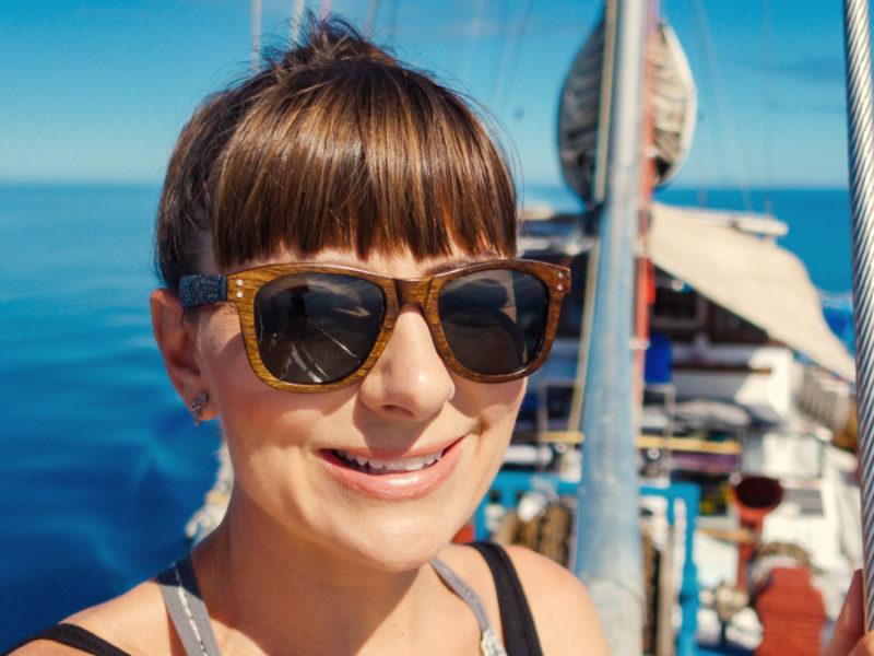 nikki wynn on a big boat in fiji