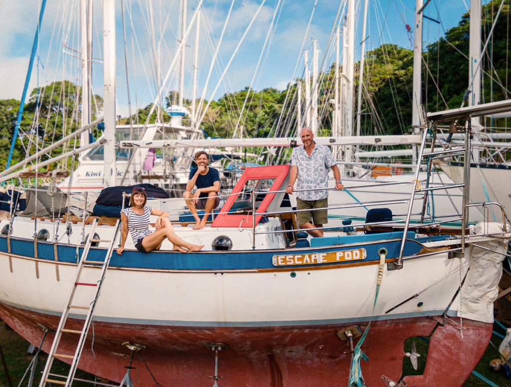 jason and nikki wynn with escape pod electric sailboat