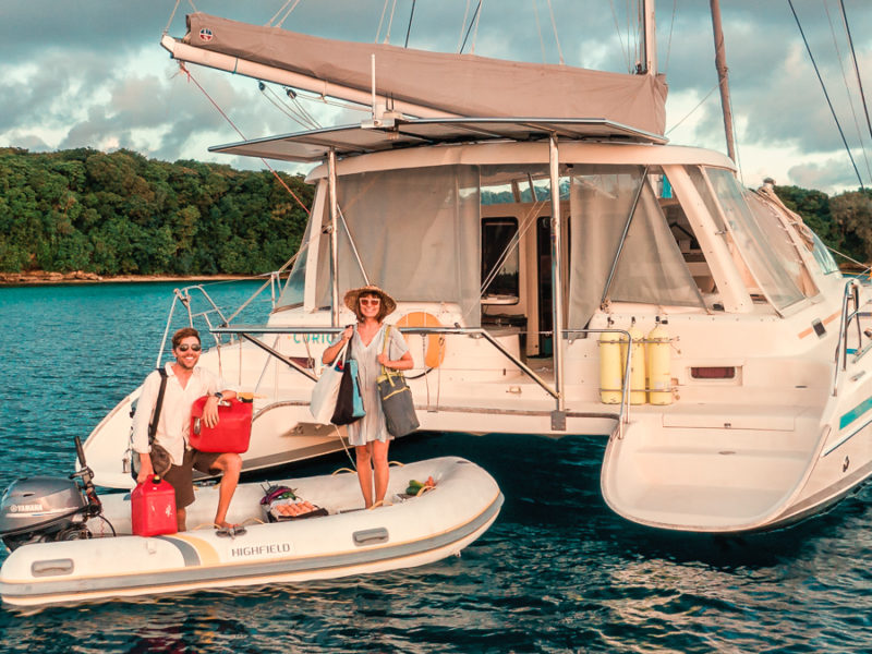 jason and Nikki Wynn showing Boat Life and How to Get Supplies On A Remote Island